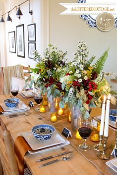 Stunning Fall Decorating Ideas | The Lettered Cottage- video included of how to make the floral centerpieces.