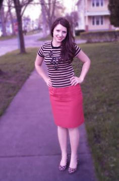 Love my stripes- red linen skirt with bw dress