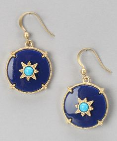 Take a look at this Blue Montana Compass Rose Earrings by Marlyn Schiff on #zulily today!