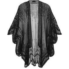 Anna Sui Sequin-embellished tulle kimono-style jacket ($405) ❤ liked on Polyvore featuring outerwear, jackets, kimono, cardigans, tops, black, evening, black evening jacket, evening jackets and anna sui