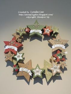 Many Merry Stars Simply Created Wreath you tube video Christmas Tree Table Decorations, Christmas Tree On Table, Christmas Projects, All Things Christmas, Holiday Crafts, Christmas Holidays, Christmas Wreaths, Stampin Up Many Merry Stars, Stampin Up Cards