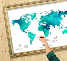 Watercolor world map guest registry