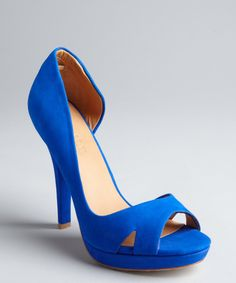 L.A.M.B.electric blue suede 'Italia' open toe d'Orsay pumps | BLUEFLY up to 70% off designer brands
