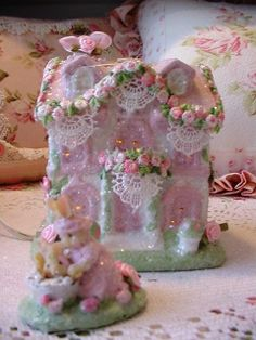 Pink Lighted Easter/Bunny Village House 2~HP~Roses~Shabby to Chic