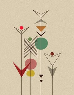 garden illustration So I have been wanting a wildflower half sleeve. Then I saw this and it reminds me of a geometric version of wild flowers and I think I want this more! Retro Kunst, Retro Art, Modern Retro, Mid Century Modern Art, Mid Century Art, Design Graphique, Art Graphique, Illustration Art, Illustrations