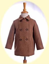 Little boy's pea coat. A classic short coat for a little boy in wool tweed with a lightly quilted lining and leather-look buttons. Childrens Coats, 6 Years, Winter Coat, Little Boys, Tweed, Size 12, Pea Coat, 12 Months, Classic