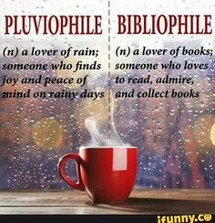 pluviophile, bibliophile A good friend once told me I'm a pluviophile. We shared a good memory walking in the rain.