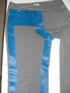 Оказалось, брюки можно скопировать, не распарывая. В помощники нужно взять малярный скотч.