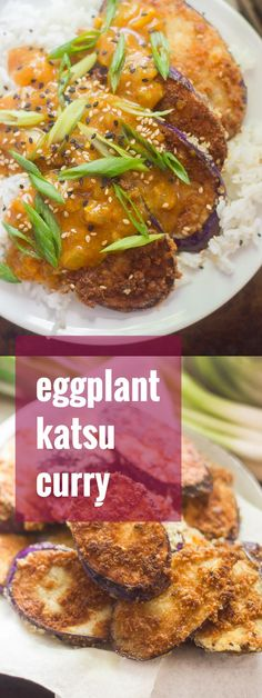 This cozy vegan katsu curry is made with crispy panko-crusted eggplant slabs served over rice and smothered in flavor-packed Japanese curry sauce. Vegan Eggplant Recipes, Vegetarian Recipes Easy, Vegetarian Cooking, Delicious Vegan Recipes, Veggie Recipes, Indian Food Recipes, Asian Recipes, Whole Food Recipes, Cooking Recipes