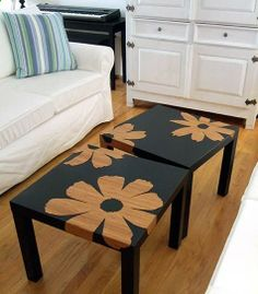 Love this idea, turn your cheap 8.00 Ikea tables into this. Love it!