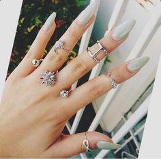 Light Green Almond Shape Acrylic Nails w/ Silver Ring Set