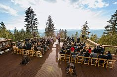 Northstar California wedding ceremony overlooking the mountains.