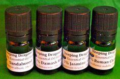 Jasmine, Rose, Sandalwood, Chamomile Essential Oils, 4x Aromatherapy Blends #SleepingDragonsCompany