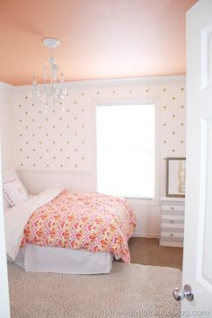 painted ceiling, bold duvet, polka dot wall, striped dresser, big print