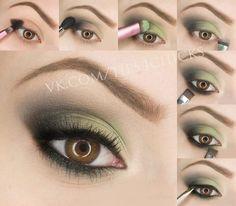 макияж для карих глаз зелёными тенями