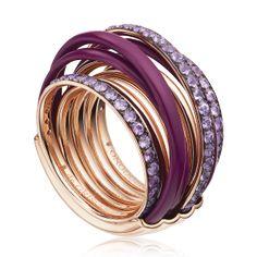 De GRISOGONO- 'Allegra' collection 54001-47 Pink Gold – Purple Ceramic – Amethysts