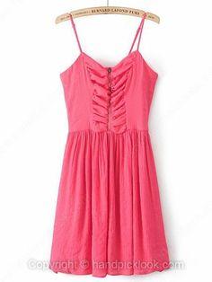 Red Spaghetti Strap Sleeveless Ruched Chiffon Dress -$19.09