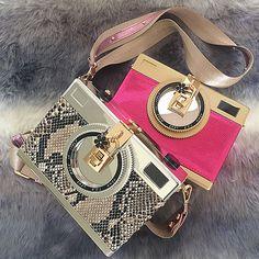 Bolsa Divertida Retro Câmera fotográfica design de moda pele de cobra mini bolsa de ombro Bolsas Divertidas