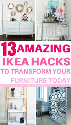 I have complied a list of 13 of the very best DIY IKEA Hacks that anyone can do! These Ikea hacks will be sure to jazz up your furniture and leave your house looking beautiful. The best ikea ideas, ikea kitchen, diy ikea hack, kids ikea hack, bedroom ikea hack, ikea hack storage, ikea hack tv unit, ikea bookcase, ikea dresser, ikea hack living room