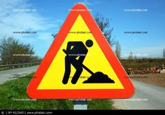 Atención peligro obras, señal de tráfico