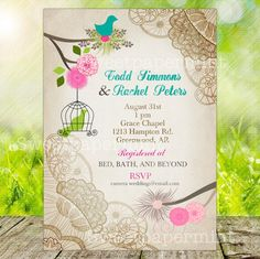 Bird Cage Lace Wedding Invitation Card Newborn by SweetPapermint