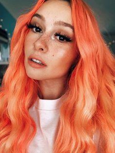 //8:08 pm// @jettelag Peachy Hair Color, Peach Hair Dye, Orange Hair Dye, Hair Color And Cut, Hair Dye Colors, Dye My Hair, Cool Hair Color, Cute Hair Colors, Arctic Fox Hair Dye