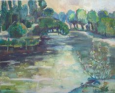 E. Witkowska, River Ełk (POLAND), oil on canvas, 50x61, 2016