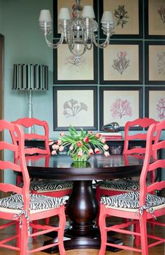 These Brightly Painted Chairs Bring An Exquisite Pop Of Color To This Dining Room We