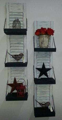 Repurposed, upcycled shutter shelves!