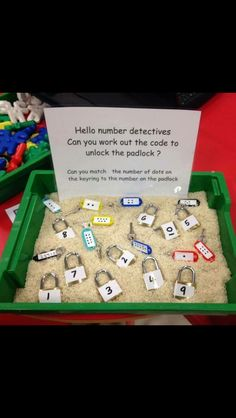 This is a great math center activity for children in preschool or kindergarten. Children would work individually within the small center group. Learning Numbers, Math Numbers, Teaching Math, Preschool Activities, Reggio Emilia Preschool, Science Center Preschool, Creative Curriculum Preschool, Reggio Emilia Classroom, Reggio Inspired Classrooms