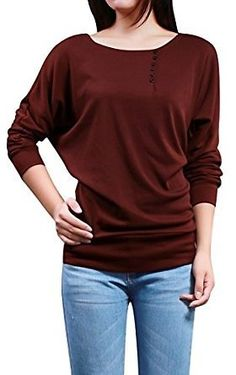 Allegra K Ladies Buttons Decor Front Batwing Top (several Colors)