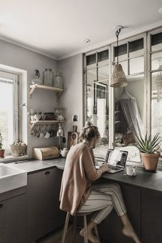 Working in the kitchen copyright 2017 Anna Malmberg Small Space Living, Living Spaces, Nordic Interior Design, Compact Living, Malm, Kitchen Decor, Sweet Home, Villa, House Styles