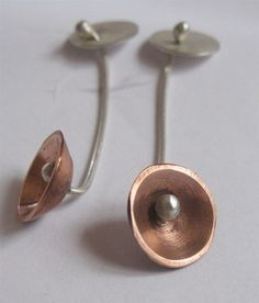 Handmade,Earrings,-,sterling,silver,&,copper,Silver Earrings, Copper Earrings, Sterling Silver Jewellery, Handmade Jewellery, Roberto Buchan...