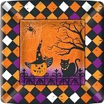 IHR Haunted Halloween Square Paper Dinner Plates Wholesale PEG1305 | Designer Print Plates | Square Paper Plates