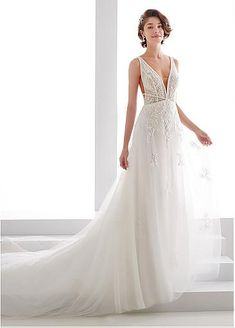 bb243bcba8d5  165.20  Wonderful Tulle   Organza V-neck Neckline A-line Wedding Dresses  With Beaded Lace Appliques