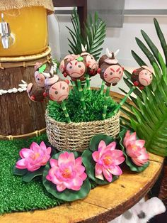 Check out the fun Kakamora cake pops at this Moana Birthday Party!! See more party ideas and share yours at CatchMyParty.com #catchmyparty #cakepops #moana