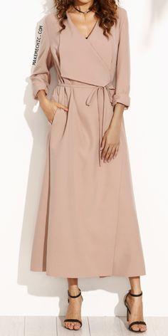 Pink Drape Collar Longline Wrap Coat