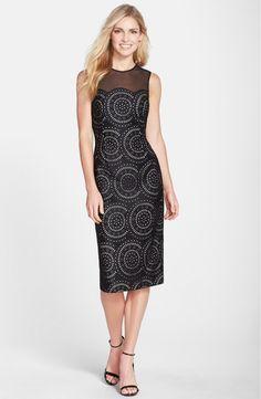 Maggy London Laser Cut Scuba Midi Sheath Dress | Nordstrom