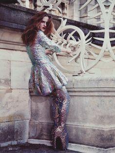"Amanda Nørgaard in Alexander McQueen's ""Jellyfish"" ensemble, by Carlotta Manaigo for L'Express Styles"