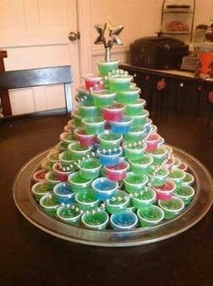 jello shot Christmas tree for ugly sweater parties