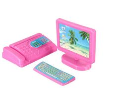 Dollhouse Miniature Modern Computer Keyboard Furniture Fax For Barbie Doll House Kids Toy