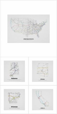 a series of maps showing every single signed and extant federal highway in the contiguous united states two and three digit interstate highways and u