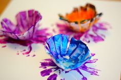 Flower prints with recycled egg cartons.