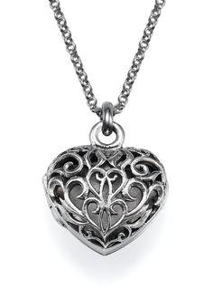 Filigree Heart Locket Necklace - 0.925 Sterling Silver 200-01-137-02