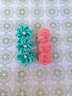 Flower hair clip  toddler hair clip girls  teal by Aupetitpied, $9.99