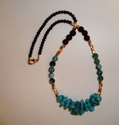 Mixed Media  BOHO Necklace  Turquoise by LuDesignsCreations