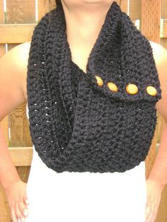 PERFECT FOR WINTER!   Karmen's Cowl in Black with Camel Buttons. $30.00, via Etsy.