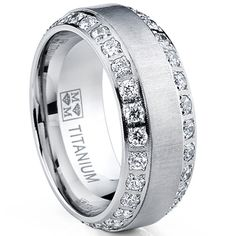 Oliveti Men's Brushed Titanium Cubic Zirconia Comfort Fit Ring - Overstock™ Shopping - Big Discounts on Men's Rings