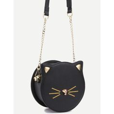 Black PU Round Shaped Zip Closure Crossbody Cat Bag ($21) ❤ liked on Polyvore featuring bags, handbags, shoulder bags, cross body, pu handbag, polyurethane handbags, zipper handbag and crossbody purses
