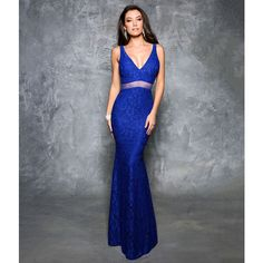 Nina Canacci Indigo Sexy Lace Low Back Gown (€190) ❤ liked on Polyvore featuring dresses, gowns, blue, sheer lace gown, lace dress, blue lace gown, blue gown and blue evening gown